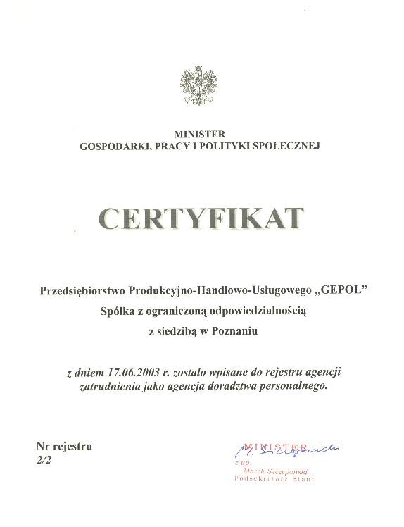 Certyfikat potwierdzający wpisanie do rejestru agencji zatrudnienia jako agencja doradztwa personalnego